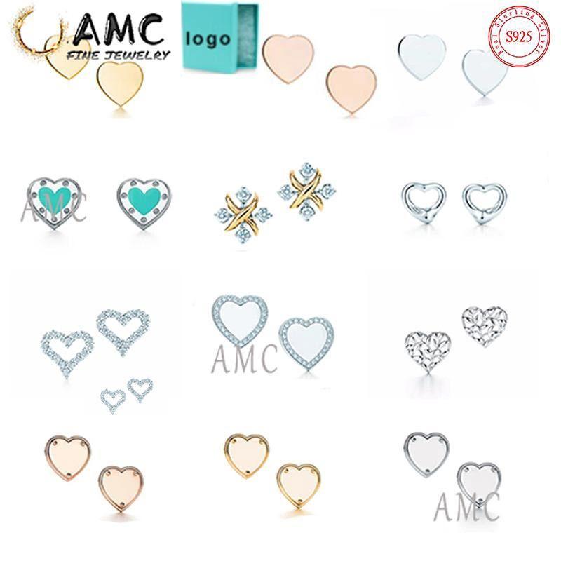 선물 상자 AMC 925 스털링 실버 클래식 귀걸이 사랑 모양 스터드 패션 여성 디자이너 귀걸이 도매 즉시 배송