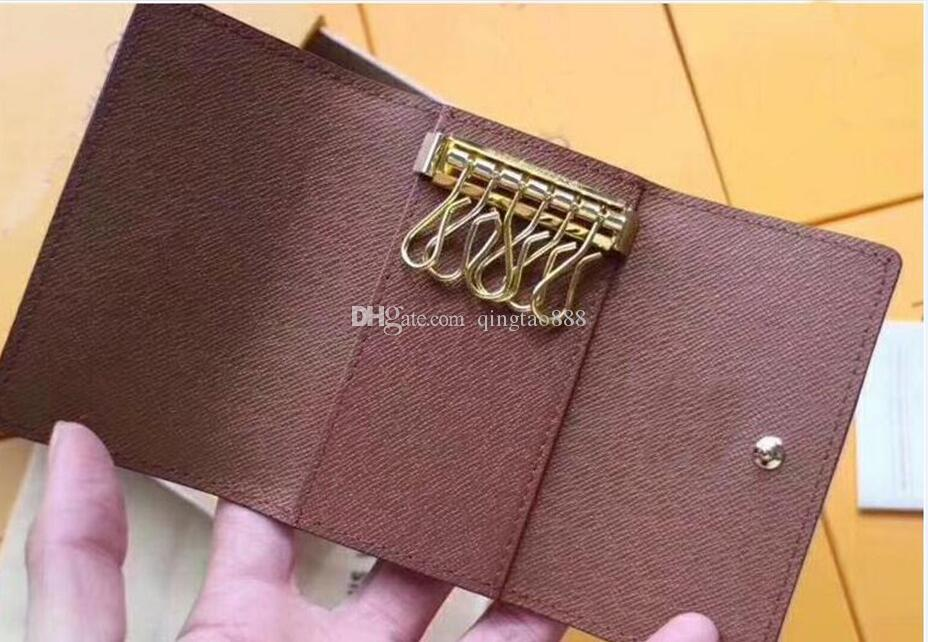 Tarjeta Seis Moda Canvas 62630 Mujer Bolsa Damier Wallet Llavero Key M62630 SFSLU Monederos Hombres Anillo Monogramas Clásico Caja Moneda con llavela EAOL