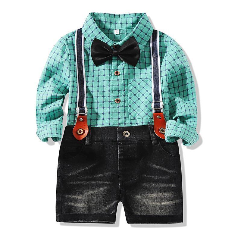Kimocat Boys 신사 정장, 봄 격자 무늬 긴팔 셔츠 탑 + 나비 넥타이 서스펜 데님 반바지 3 피스 세트 9 개월 - 5 년 의류 세트