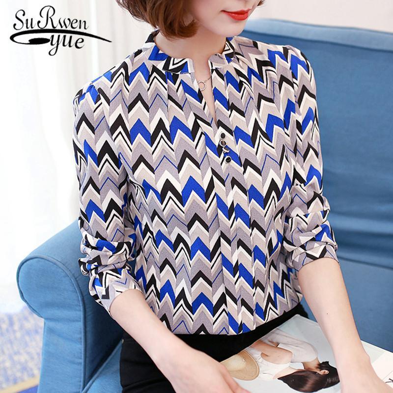 Moda V Yaka Şerit Ofis Bayan Gömlek Şifon Bluz Kadın Tops Artı Boyutu Uzun Kollu Baskı Kadın Giyim Blusas 00A Bluzlar Gömlek