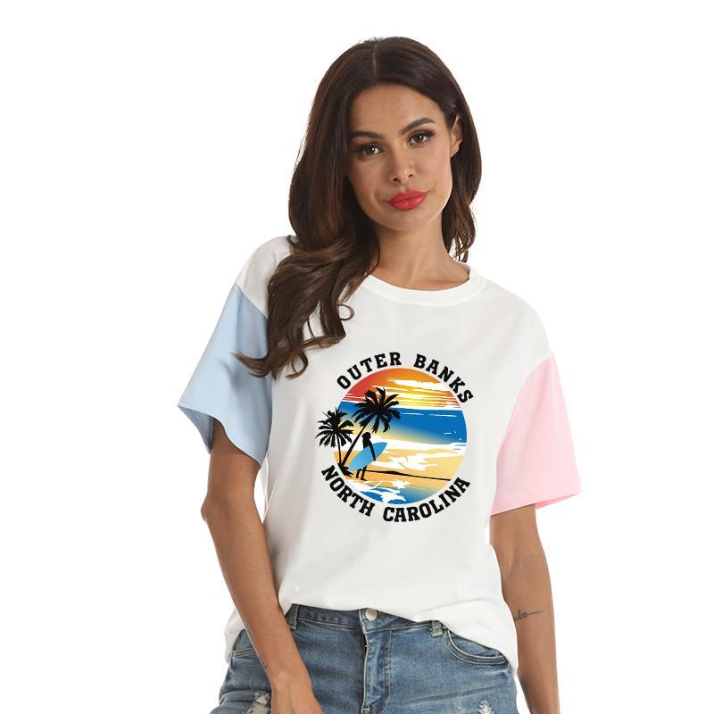 Yaz Dış Bankalar T Shirt Kadın Harajuku Kawaii Yaratıcı Baskı Tops Gevşek Günlük Kontrast Renk Pamuk Tee Gömlek Femme Giyim Kadın T-S