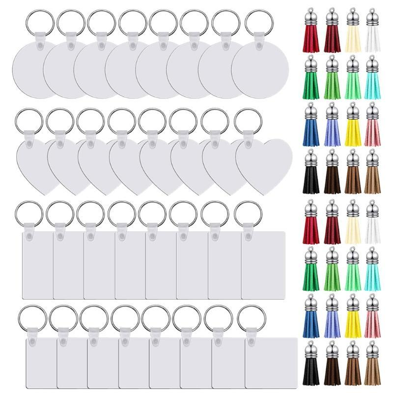 Keychains 32Pc Sublimation Blank Keychain Double-Side Printed Transfer DIY MDF With PU Leather Tassel