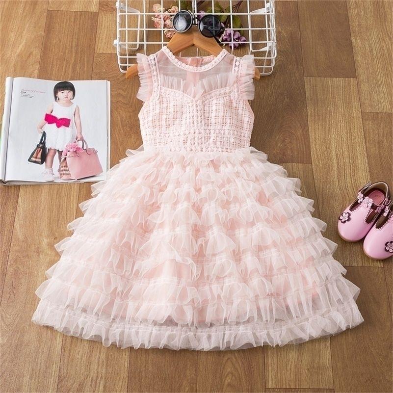 3-8 anos vestido de crianças para meninas vestido de festa primavera verão crianças roupas brilhantes lantejoulas princesa pageant frock birthday traje 210319