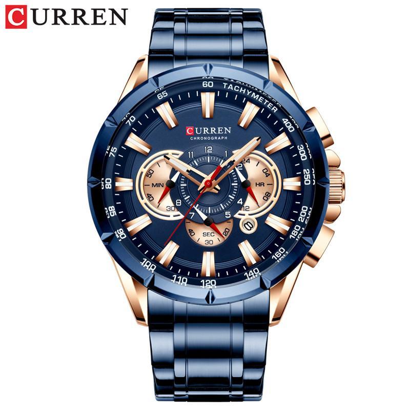 curren 캐주얼 스포츠 크로노 그래프 남자 시계 스테인레스 스틸 밴드 손목 시계 큰 다이얼 쿼츠 시계 빛나는 포인터