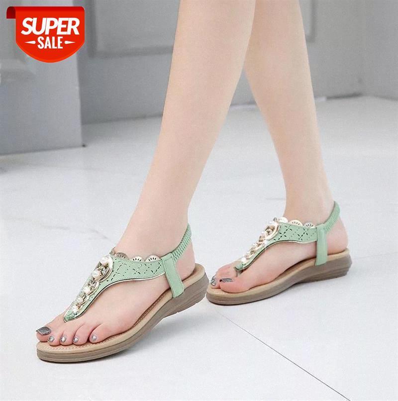 Sapatos de Verão Mulher 2021 Nova Moda Frisada Mulheres Sapatos Clipe Toe Sandálias Mulheres Sólida Cor Retro Beach Plus Size # L05L