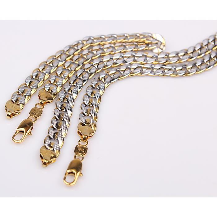 "jewelry sets 18k gold filled GF 2-tone pringting curb cuban chain 9mm bracelet necklace (8.66"" + 23.6"" )"