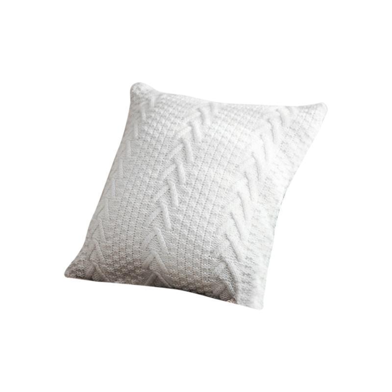 Taie d'oreiller Housse de coussin Vintage Knittd Coussin Taie d'oreiller Canapé Knit Jet Grey / Blanc Square