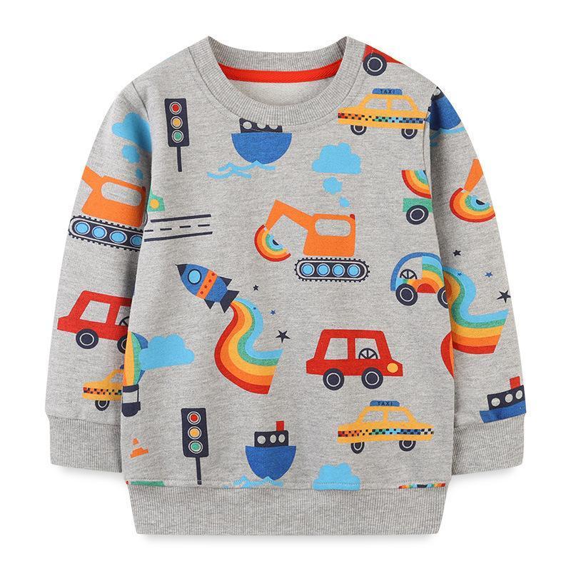 Hoodies & Sweatshirts Fashion Children's Clothing Boys Pullover Cotton Sweatshirt European And American Style Cartoon Print Car