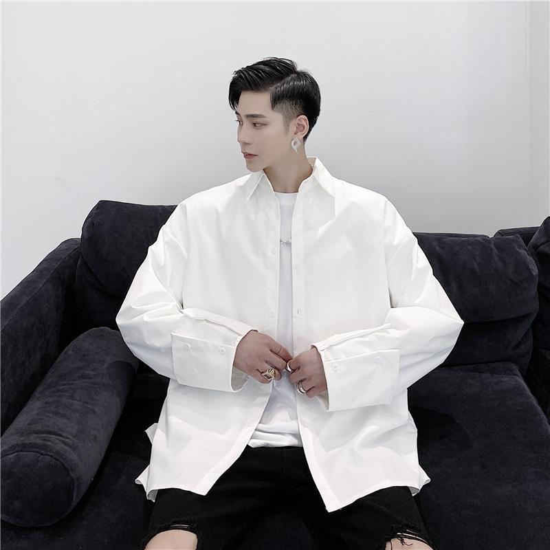 봄 한국어 스타일 성격 슬리브 디자인 셔츠 남성 캐주얼 느슨한 간단한 단순한 남성, 크기 M-XXL 남자