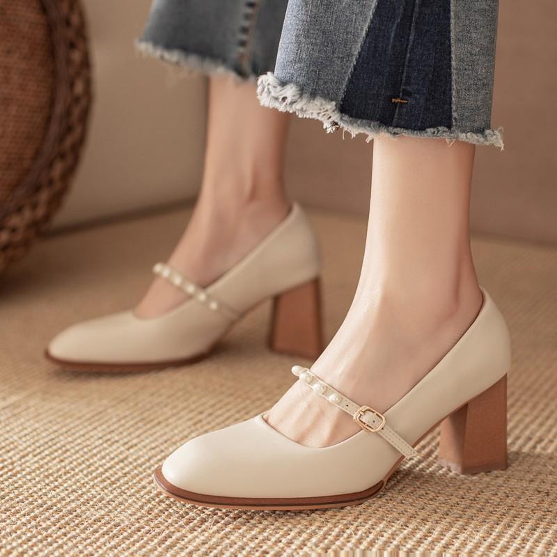 Kadınlar için Blok Topuklu 2021 Lolita Ayakkabı Dantel-up Kare Toe Tüm Maçlarda Kayma Sandalet Bayanlar Tıknaz 3 CM Son Retro Mary J Elbise