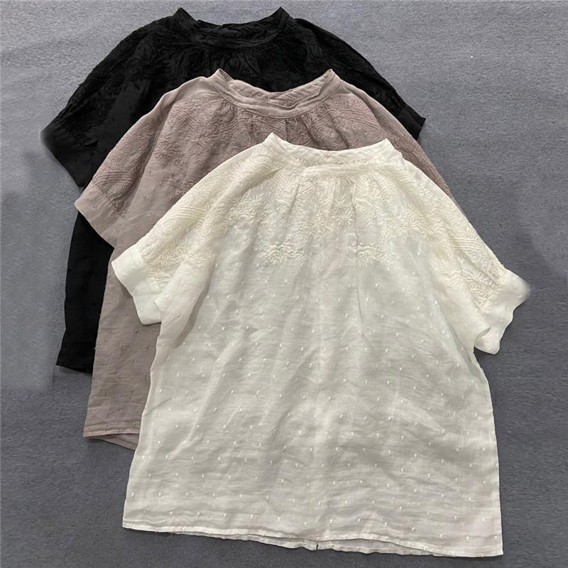 Women's Blouses & Shirts Johnature 2021 Linen Women Loose Embroidery Summer Japanese Solid Color Half Sleeve O-neck Female
