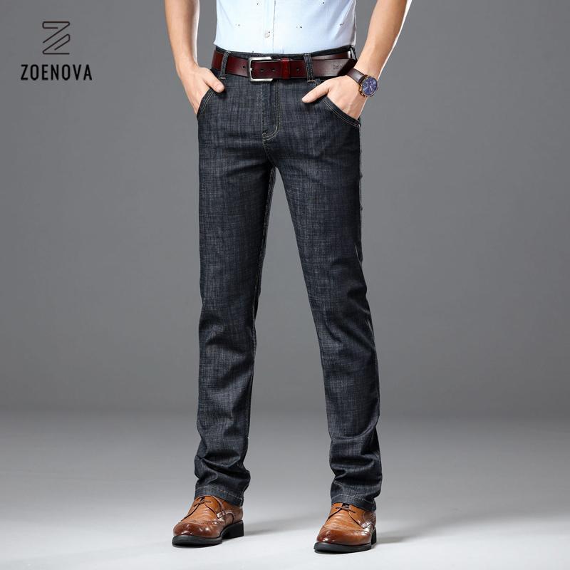 Zoenova erkek siyah kot elastik slim fit denim pantolon klasik iş jeanssy erkek jean büyük 42 44 46 marka pantolon mavi