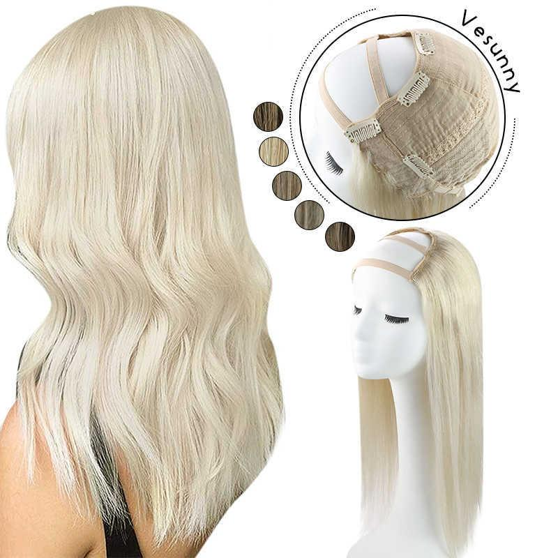 """Vesunny U Part Half Remy Human Hair Extensions 12-20"""" One Piece with Clips Medium Cap Blonde Wigs 100g-180g"""
