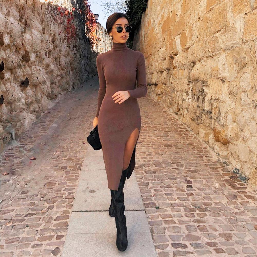 Robes pour femmes femmes tricot sweater robe manches longues manches haut cou décontracté midi mode midi élégant chic dame chaleureuse femme