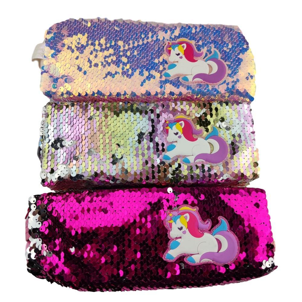 Чехол на карандаш Единорога Дамы секвенированные сумки для хранения Двухсторонний блеск Косметическая сумка Путешествия