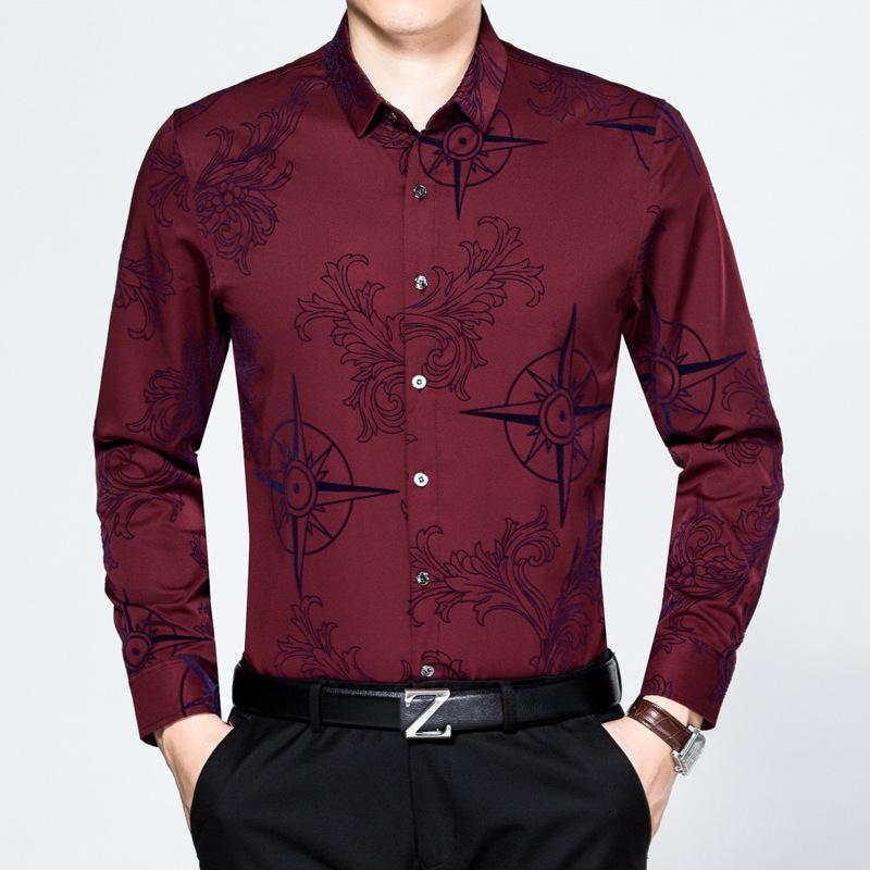 Primavera e outono fino médio envelhecido homens de manga comprida mercerizada algodão casual tamanho grande camisa floral sem ferro moda2isc