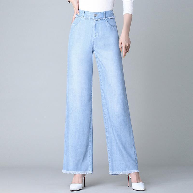 Women's Jeans 2021 Fashion Women High Waist Wide Legs Tassel Tencel Cotton Female Light Blue Straight Trousers Plus Size