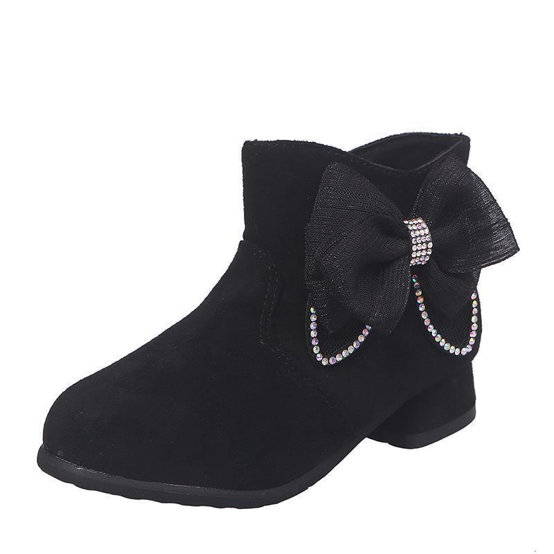 Botas para niños Zapatos para niñas Invierno Otoño Moda Bowtie Rhinestone Iow Heel Snow Niños Bebé Niña Tobillo SC138