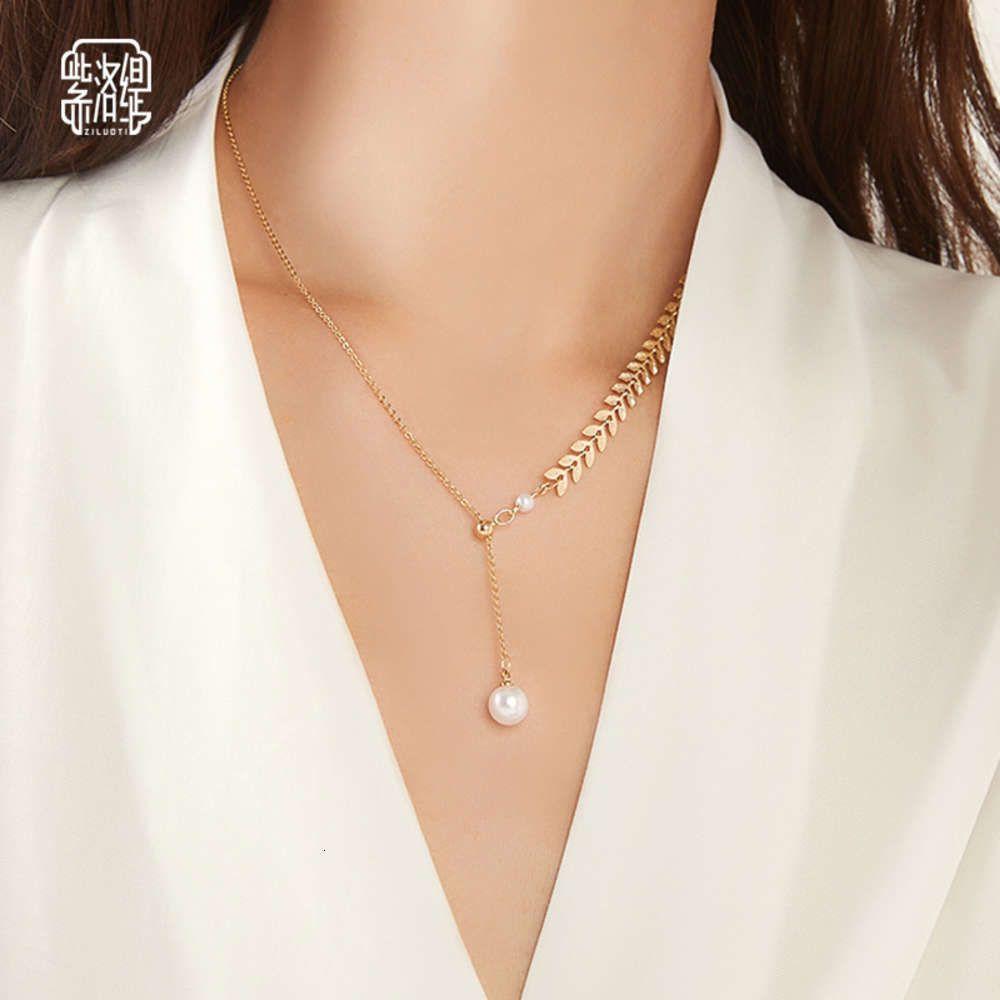 Colorido ouro borla imitação pérola mulheres clavícula clavícula luz nicho de luxo nicho moda líquido temperamento vermelho colar pingente