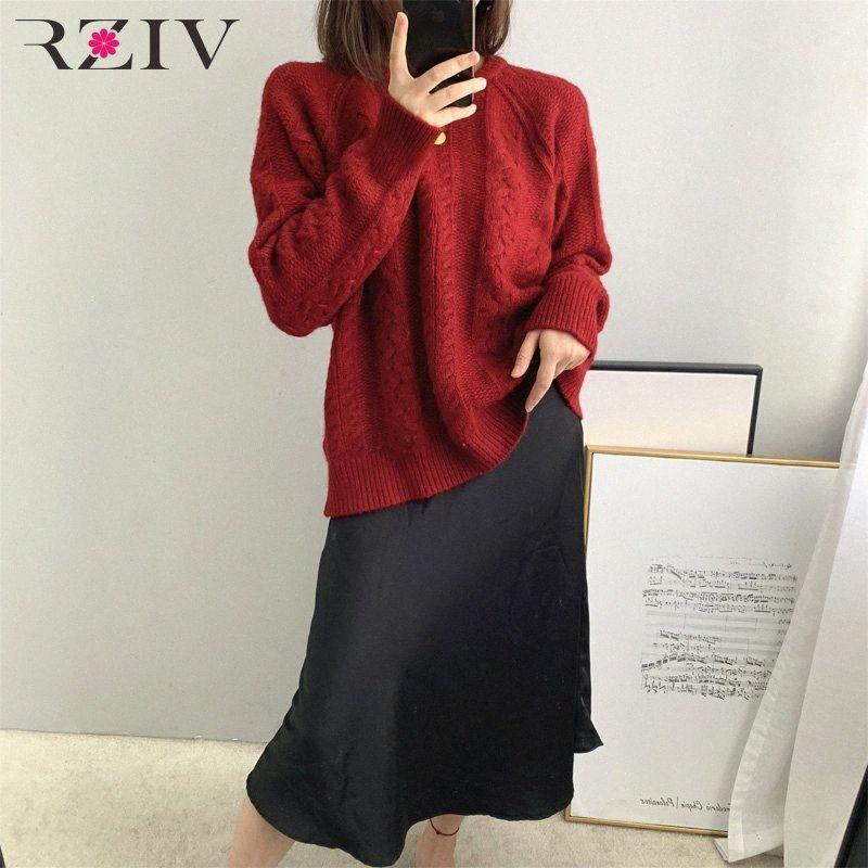 Rziv outono e inverno camisola feminina casual cor sólida rodada pescoço manga longa Solta camisola i2kn #