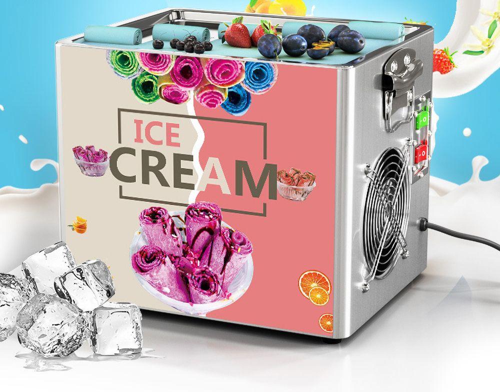 Thai Stir Fry Ice Cream Tools Roll Machine Kitchen Electric Small Fried Yogurt Portable Mini Kit