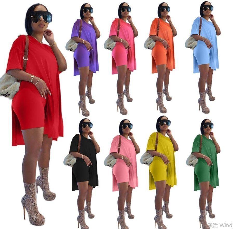 여름 여성 Tracksuits 디자이너 분할 짧은 소매 느슨한 티셔츠 탑스 + 반바지 두 조각 조깅 세트 플러스 크기