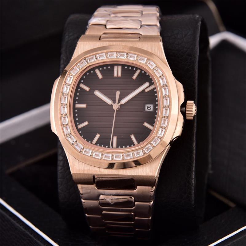 7 색 40mm Naut 18K 로즈 골드 투명 백 시계 다이아몬드 베젤 5711 / 1A 아시아 2813 자동 무브먼트 날짜 망 BDFL