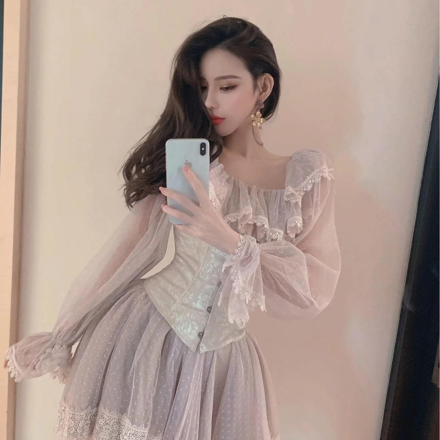 Vestido vestido adorável pedaços lolita roupas para fêmea em doce girly lace adolescente moda