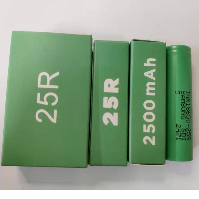 Qualidade superior INR18650 25R 18650 Bateria Caixa verde 2500mAh 20A 3.7V Baterias recarregáveis de lítio recarregável para Samsung