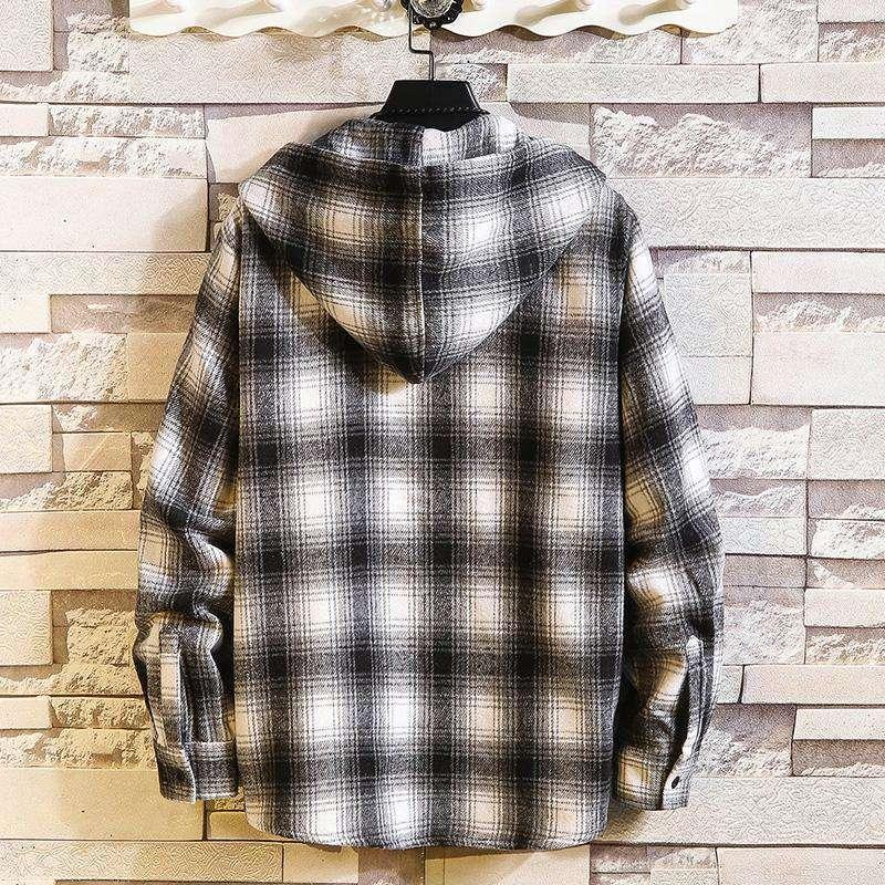 Hombres camisas de tela escocesa Marca casual con sudadera con capucha Mangas largas 2020 Nueva primavera Camisa de otoño de gran tamaño M-6XL