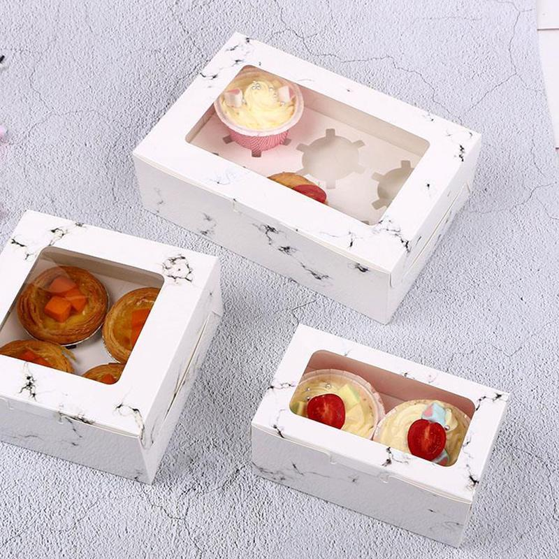 Gift Wrap 2/4/6Cavities Clear Window Marbling Cupcake Boxes With Holder Dessert Cake Box And Packaging Muffin For Christmas Year Party
