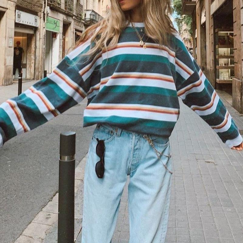 Sudadera de las mujeres 2021 Contraste a rayas de primavera Impreso con capucha suelta Streetwear Streetwear Casual Sudaderas de manga larga Sudaderas Mujeres