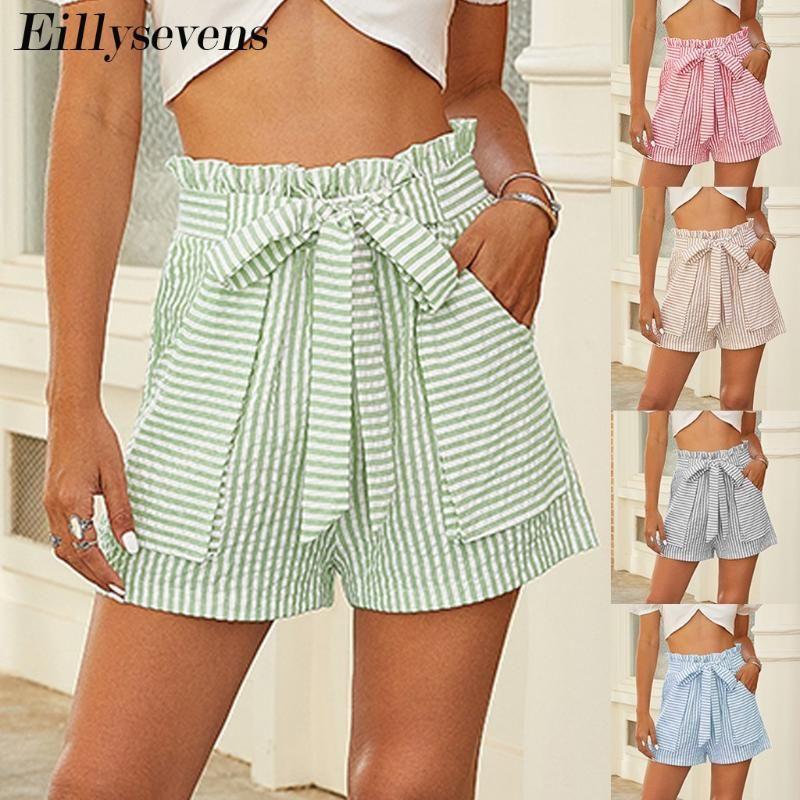 Pantalones cortos de cintura alta de rayas Verano 2021 Moda Mujeres Casual pantalones cortos sueltos Vendaje suelto Lady Ladies Ocio Fiesta de la fiesta