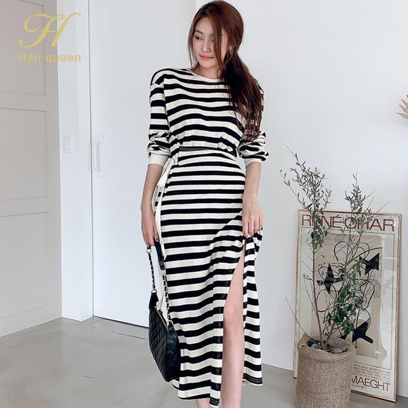 Han Kraliçe Bayan 2021 Kore Şerit Casual Elbise Uzun Kollu Bölünmüş Elbiseler OL Zarif İnce İş Giyim Dantel-up Vestidos