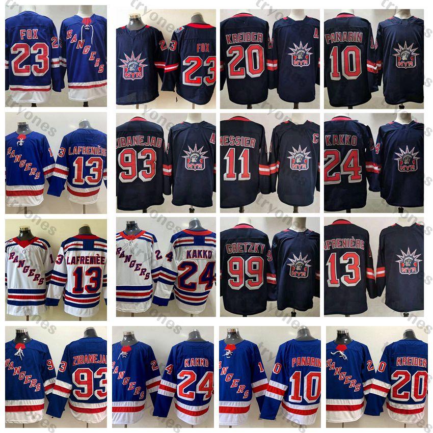 2021 Retro Retro New York Rangers Hockey Jersey 23 Adam Fox Alexis Lafreniere Kaapo Kakko Artemi Panarin Chris Kreider Mika Zibanejad Gretzky Morgtier Blue Hemden