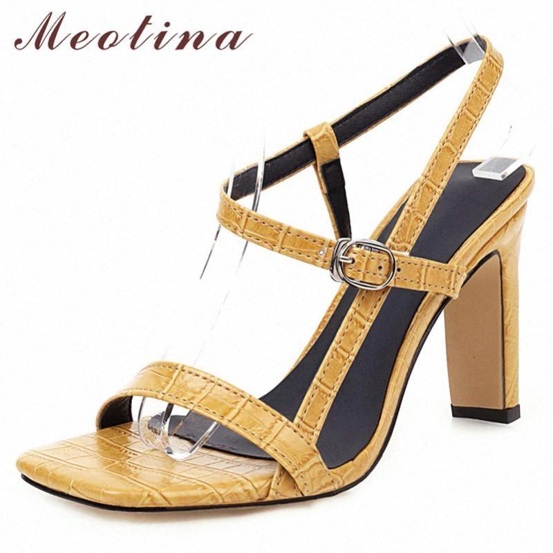 Meotina Sandalias de verano Zapatos Mujeres Hebilla Hebilla Tacones gruesos Party Zapatos elegantes Super High Sandals Sandalias Damas Red 2020 Gran tamaño 34 46 Zapatos desnudos High Heel L707 #