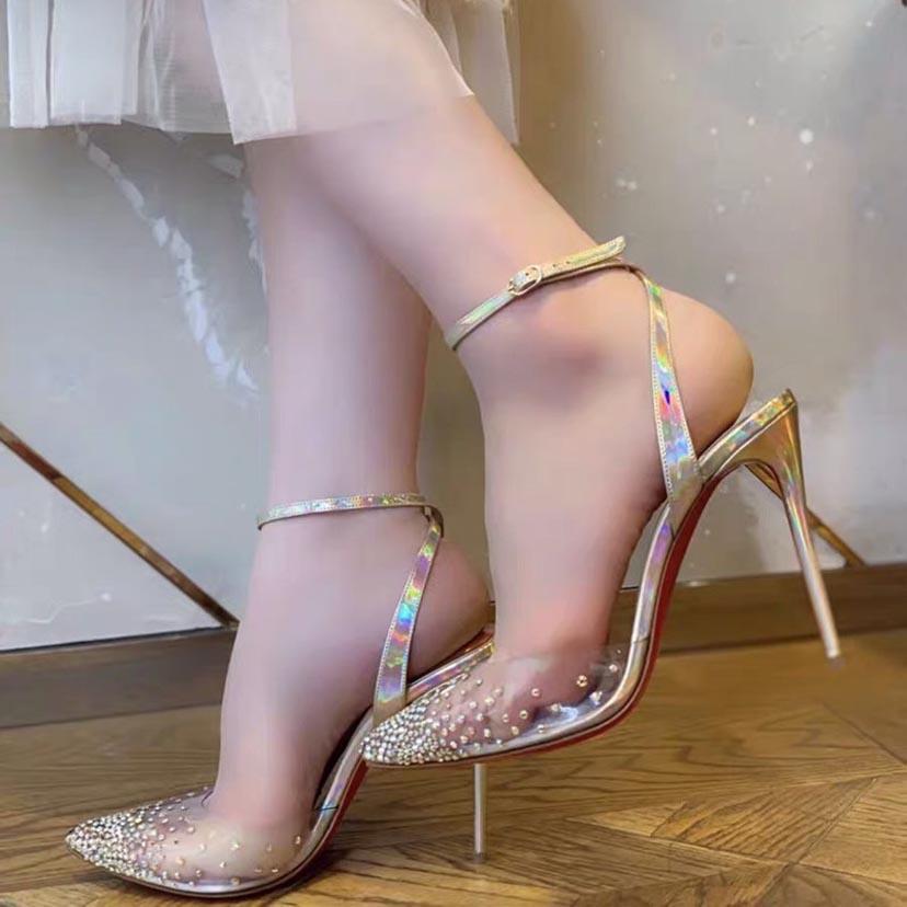 Elegance Kadın Elbise Ayakkabı Kırmızı Alt Pompalar Gelin Yüksek Topuk Kırmızı Tabanlar Spikaqueen Kadın Ayakkabı, PVC + Strass Rhinestone Kapalı Sivri Burun Parti Düğün Topuklu