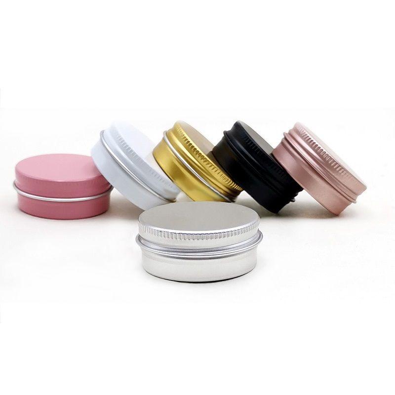 나사 뚜껑이 달린 알루미늄 주석 항아리 15ml 0.5oz 라운드 병 캔 립 밤, 로션, 크림, 마스크 RRD7327에 대 한 빈 화장품 용기