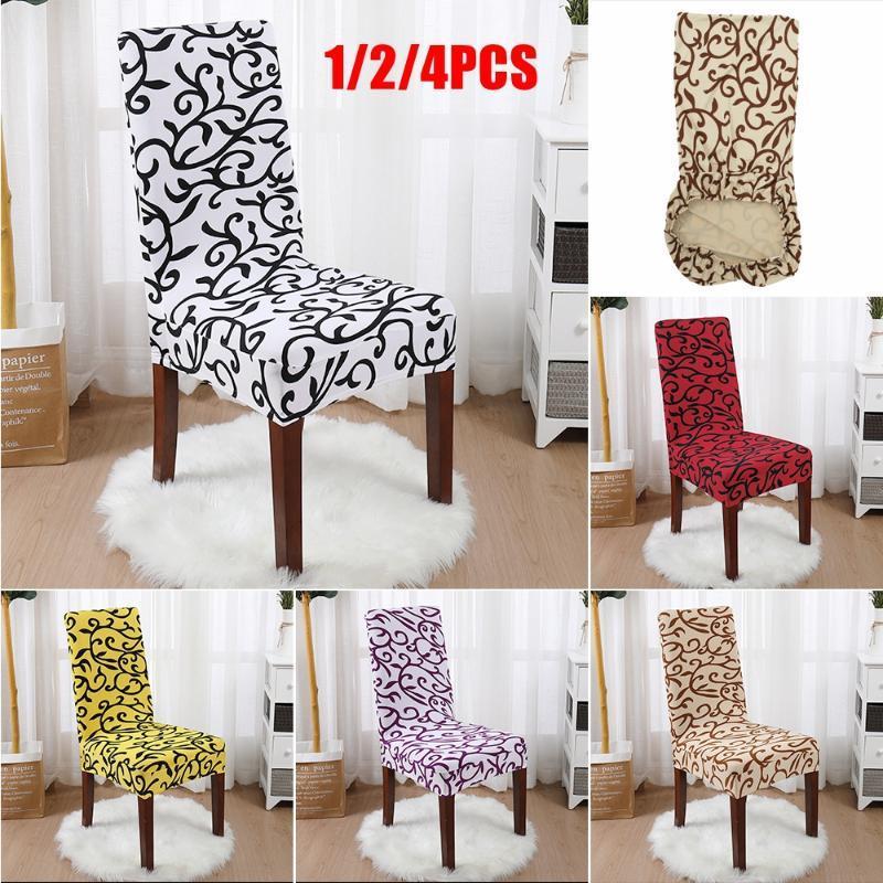 Coperture per sedia 1/2/4pcs Spandex Cover slipcover elasticizzato Stampato Custodia da pranzo rimovibile Anti-sporco Cucina Caso Sedile per banchetti
