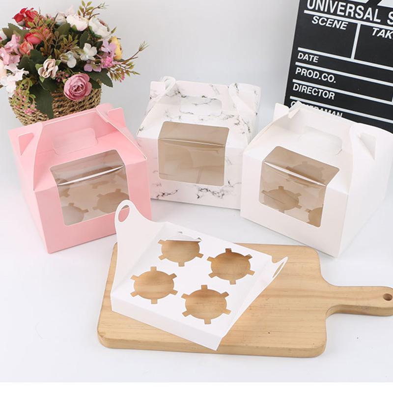 Подарочная упаковка 10 шт. Мраморная коробка для кекса с окном DIY Handmade Cup Take Musfin Eggtart Упаковочные коробки Вечеринка Party Pursing Paper
