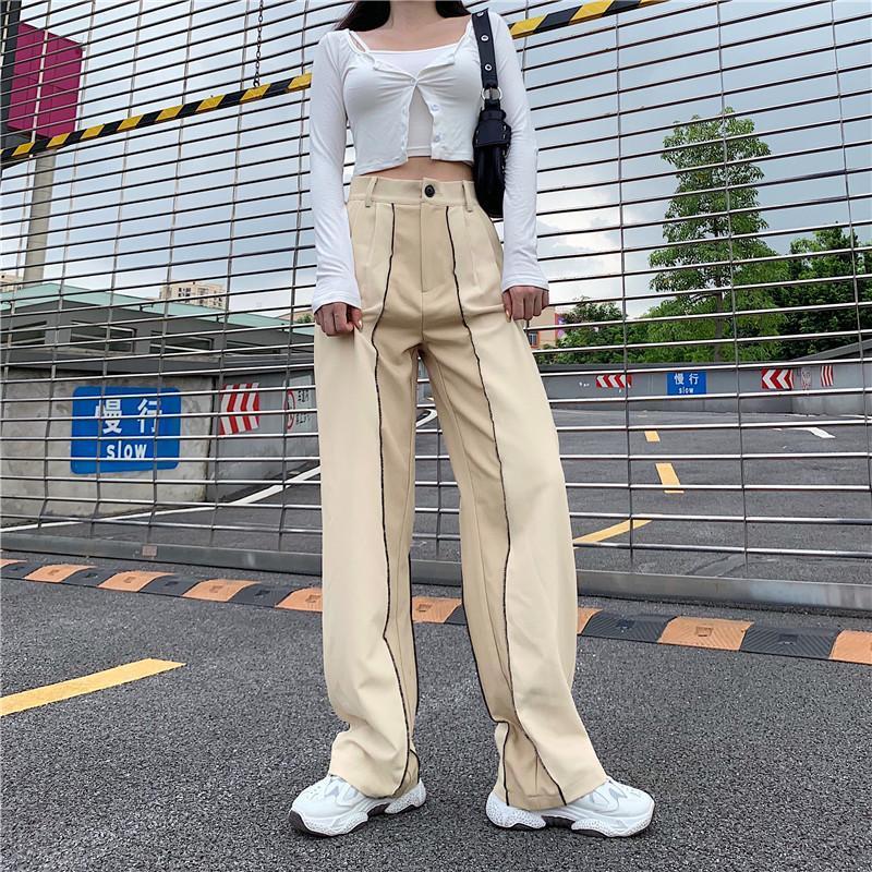 Pantalones de mujer Pantalones rectos Pantalones largos de alta cintura para la fiesta de rayas Club de baile de rayas Fondos de pierna ancha suelta Primavera Otoño Capris
