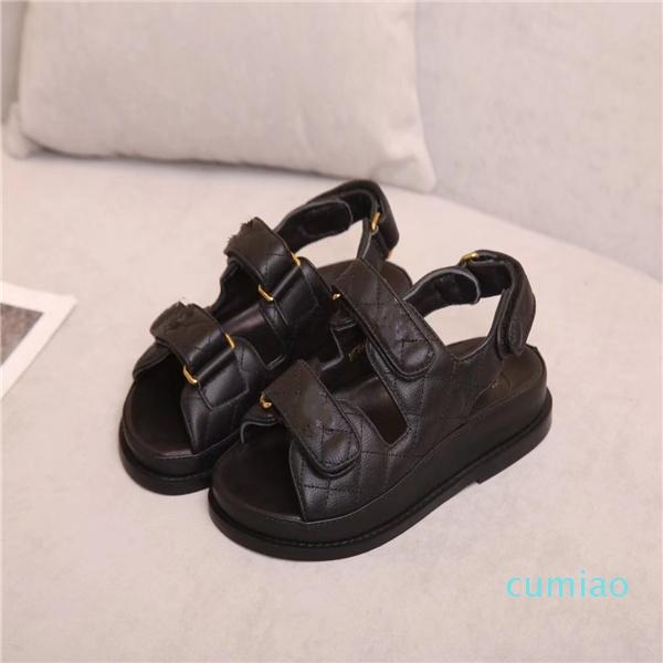 2021 sandals women slipper men slides leather sandal womens Hook & Loop casual shoes 35-41 with black box and dust bag