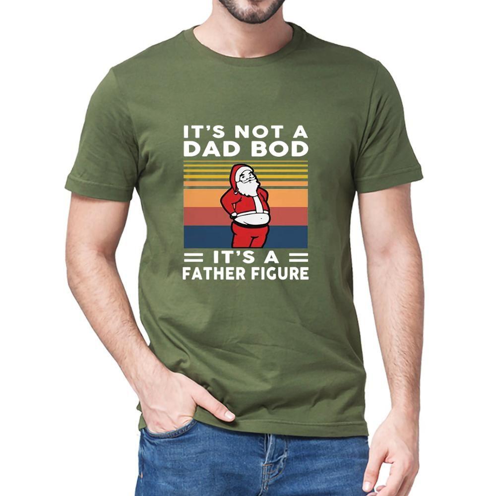 Unisex 100% Baumwolle Santa Santa Es ist kein Vater BOD Es ist eine Vaterfigur Vintage lustige Weihnachtsmänner Kurzarm T-Shirt Frauen Weiche T-Stück