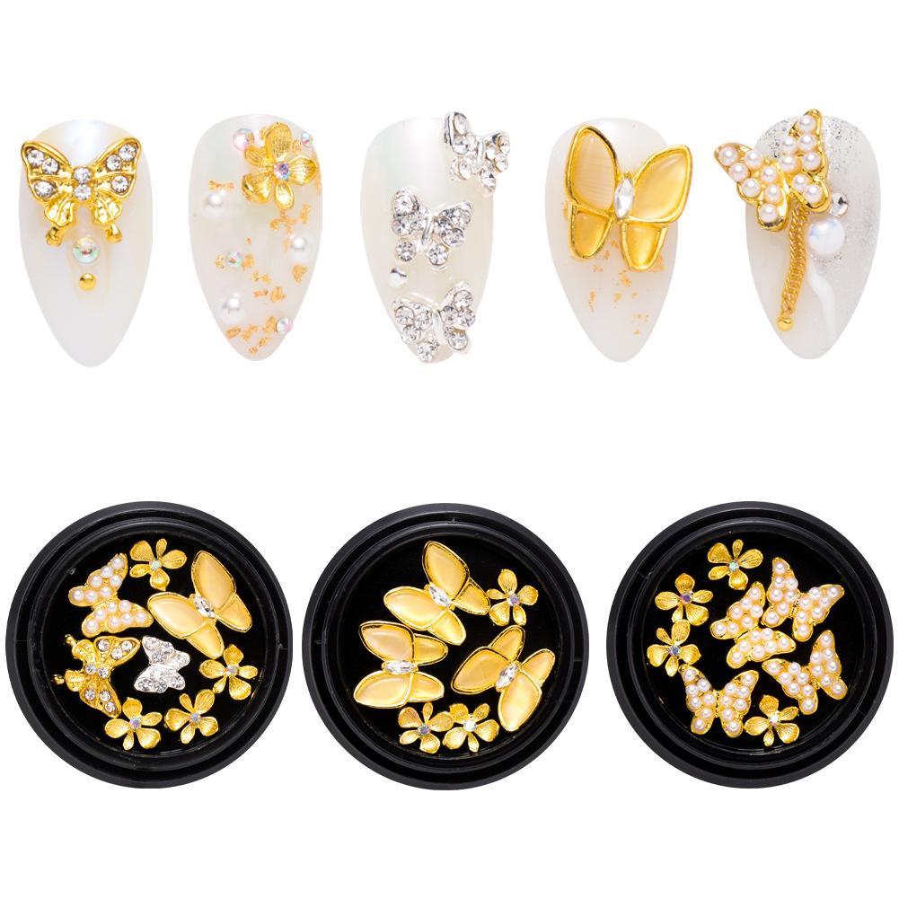 الذهب صغير فراشة مسمار الفن مجوهرات سبائك مانيكير الماس مربع زخارف الظفر