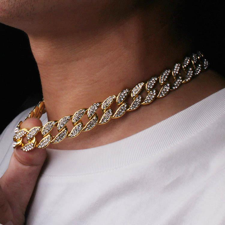 Hip Hop Bling Fashion necklaces Jewelry Mens and women Gold Silver Miami Cuban Link Diamond Iced Out Chians