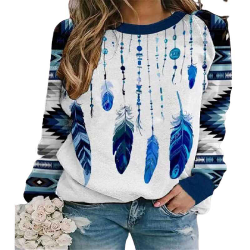 Women's T-Shirt Autumn Winter Long Sleeve Women T-Shirts Feather Print Streetwear Tee Round-Neck Loose Casual Female Sporty Running