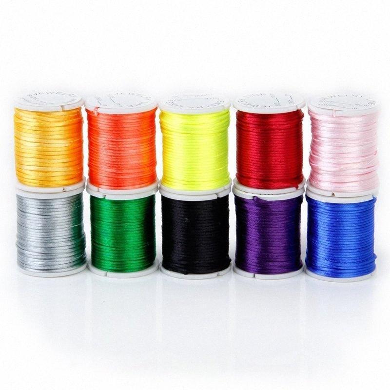 10 rollos de cable mixto en nylon de perlas de color cadena de hilo para la joyería artesanal 1 mm i3lh #
