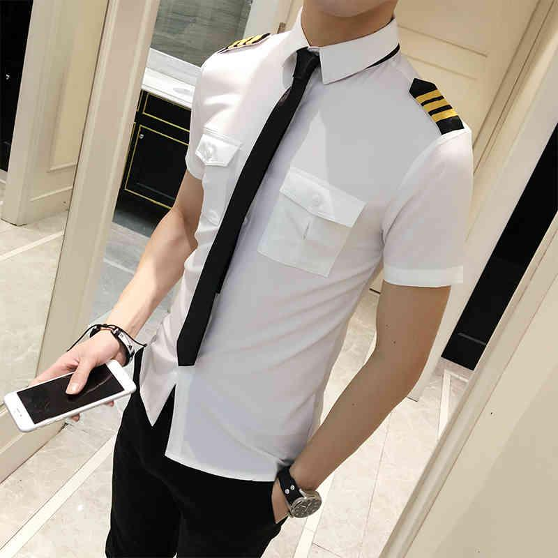 Camisas Camisetas Atendentes com mangas curtas, camisa masculina preta / branca, encaixe magro, roupas de voo para primavera, verão, 6xl-s TMSC
