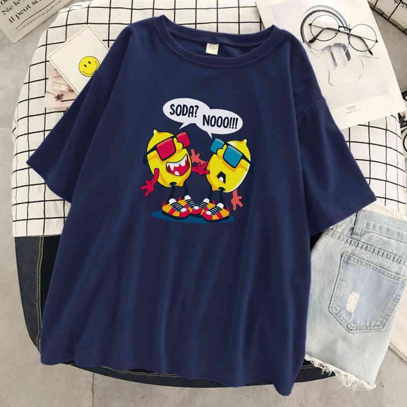 Camiseta, diseño creativo, limón doble de las mujeres, camiseta de alta calidad, camiseta suelta, ropa de moda, tapa de las mujeres en 2021