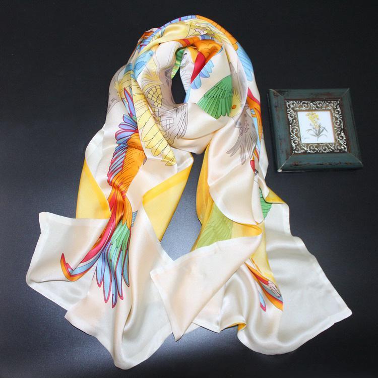 190x65 سنتيمتر حجم كبير الحرير وشاح طويل طبقات مزدوجة الببغاوات المطبوعة النساء شالات الحيوانات يلتف والأوشحة